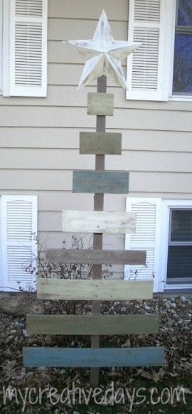 Árvore de Natal de madeira do celeiro mycreativedays.com