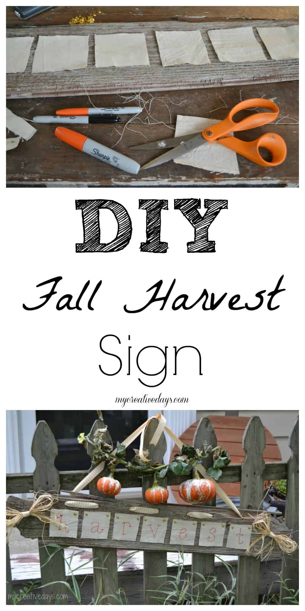 Harvest Sign On Barnwood For Fall Front Porch Decor: DIY Harvest Sign Made From Reclaimed Pieces And Left Over