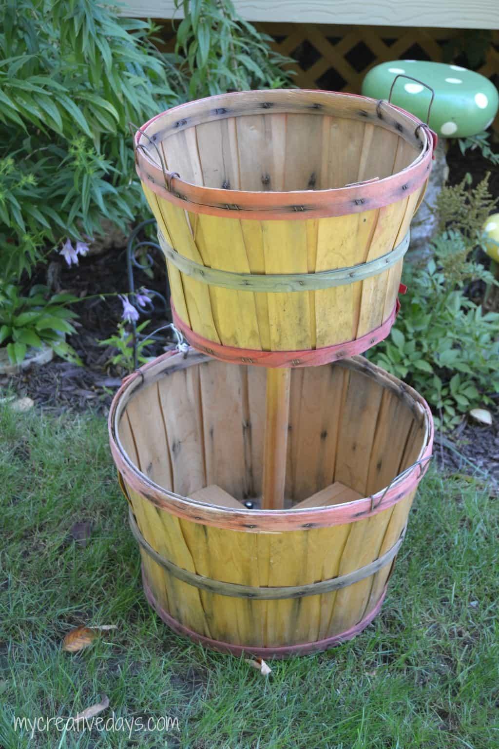DIY Tiered Bushel Baskets mycreativedays.com