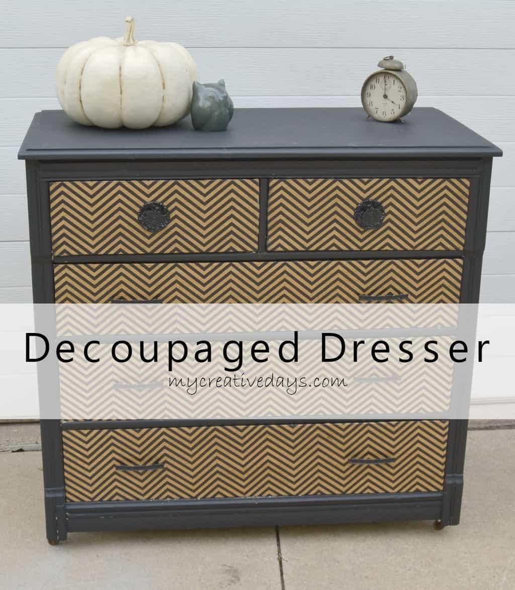 Decoupaged Dresser {Country Chic Paint} mycreativedays.com