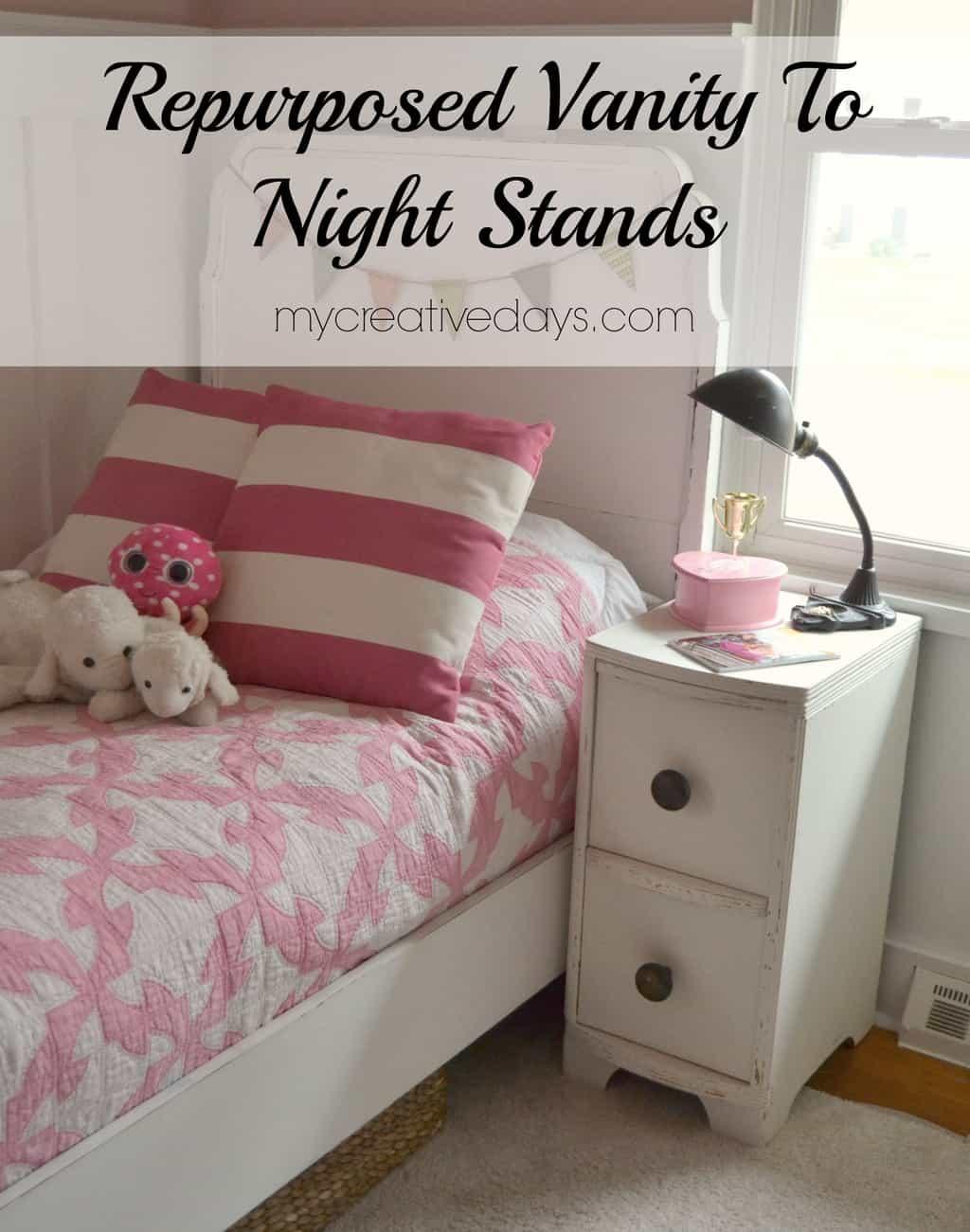 Repurposed Vanity To Night Stands  mycreativedays.com