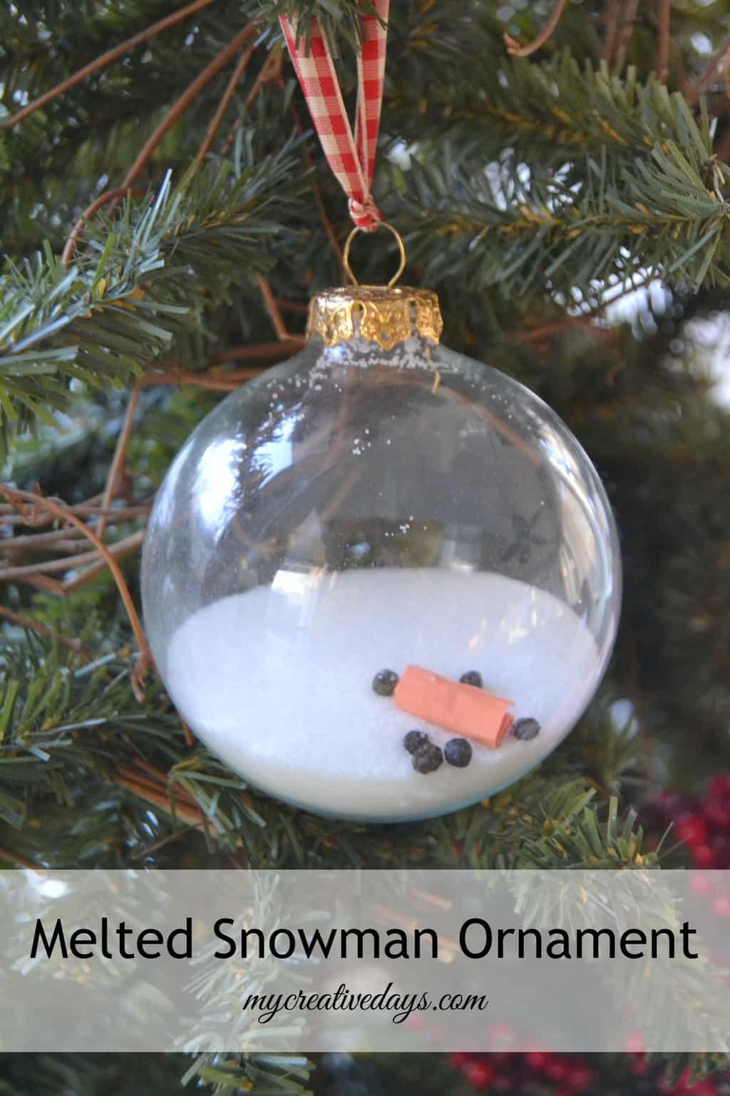 Melted Snowman Ornament mycreativedays.com