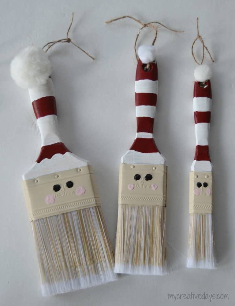 Looking for a fun homemade Christmas ornament idea? These Paint Brush Santas are easy and so cute wherever you put them!