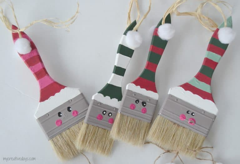 Looking for a fun homemade Christmas ornament idea? These Paint Brush Santas are easy and so cute!