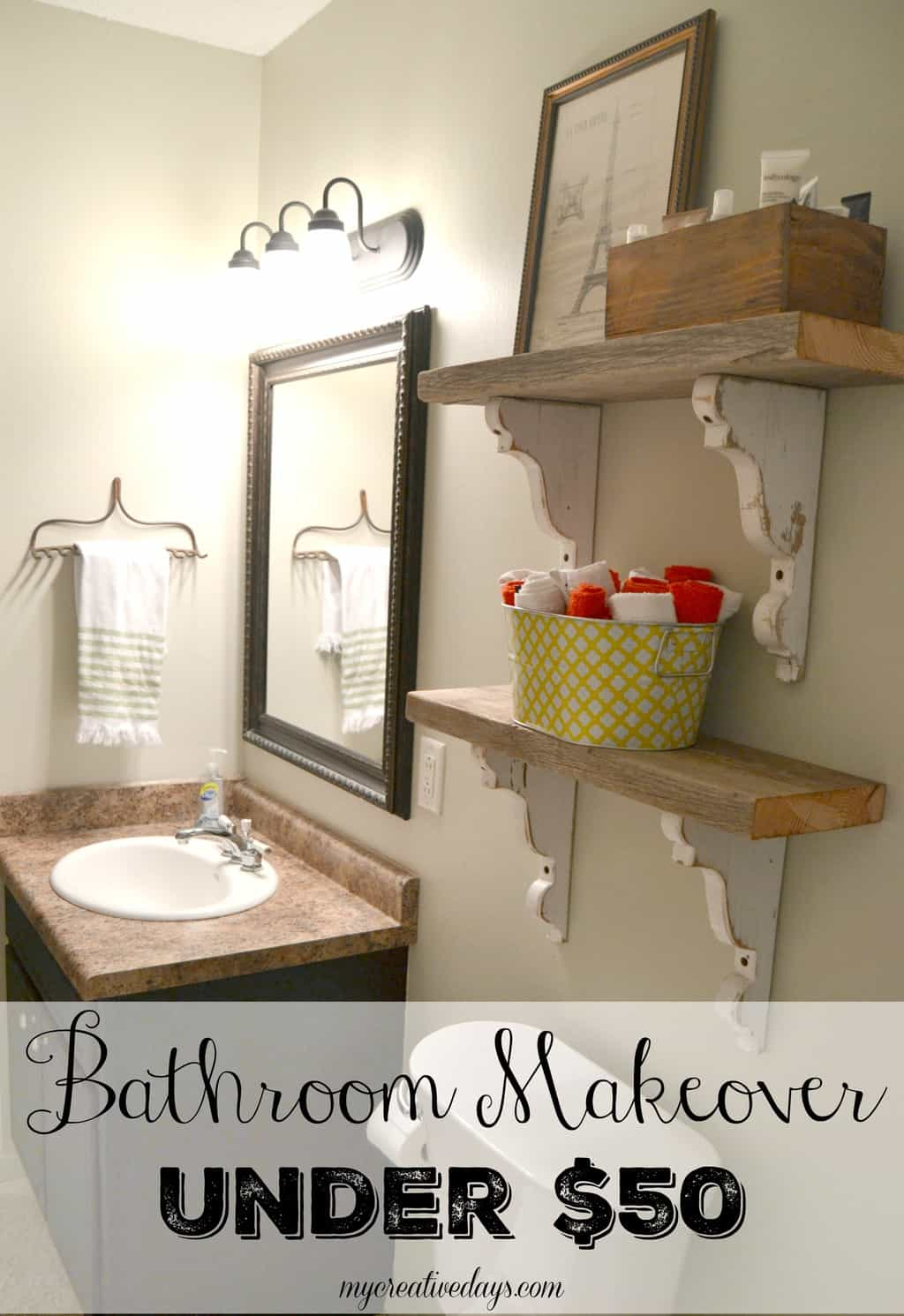 Bathroom Makeover Under  My Creative Days - Bathroom makeover