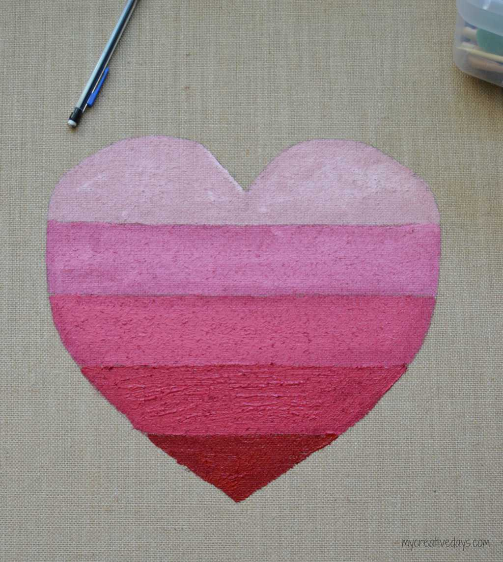 Ombre Heart On Burlap mycreativedays.com