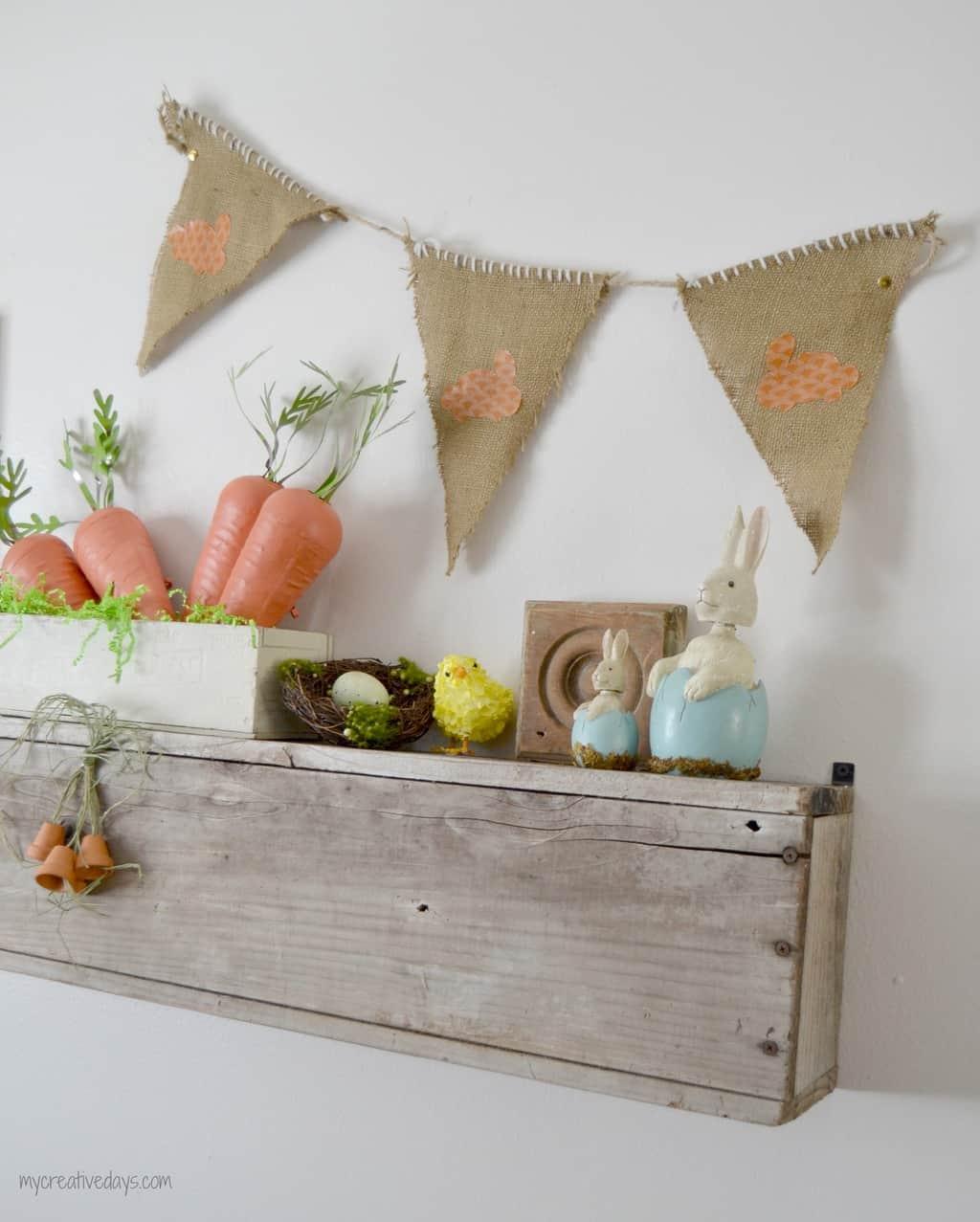 Easter Mantel With DIY Burlap Banner mycreativedays.com