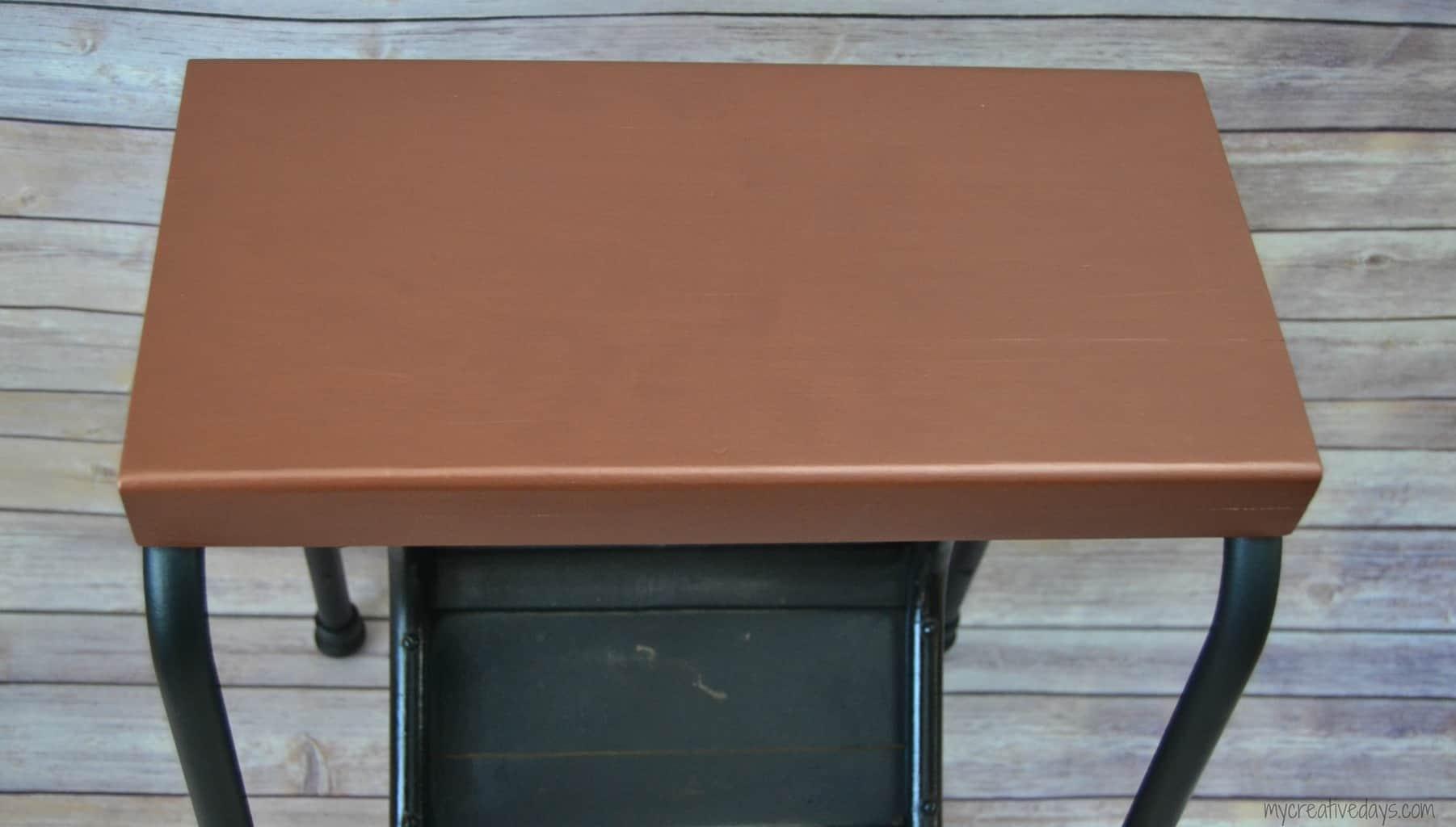 Copper Step Stool Makeover mycreativedays.com