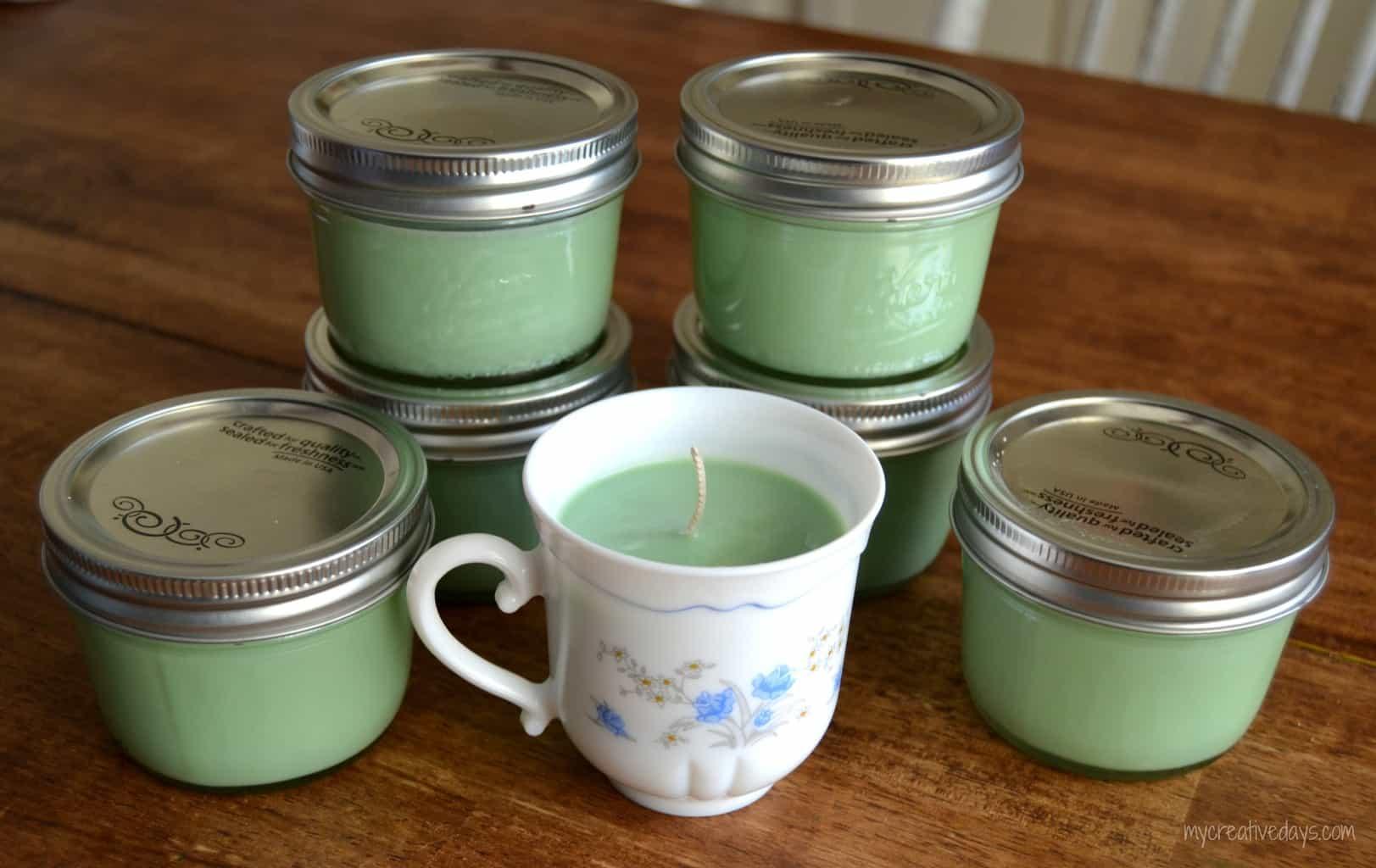 Homemade Teacup Candles mycreativedays.com
