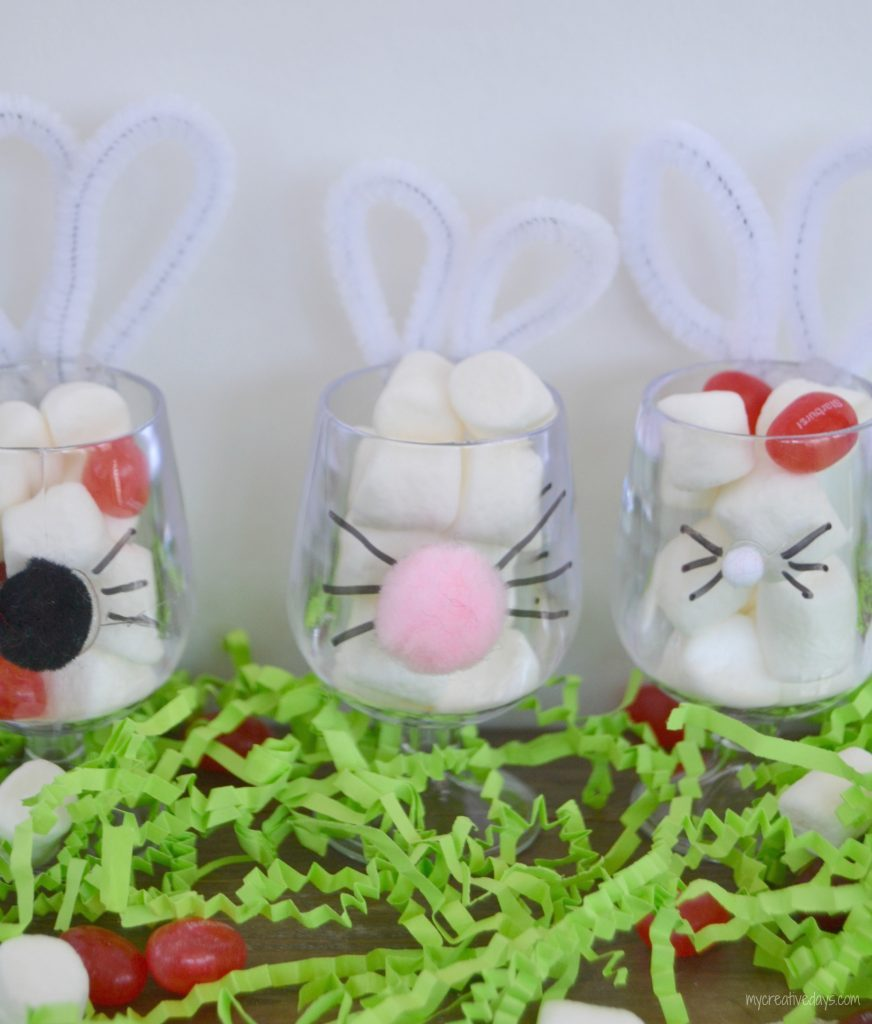 These DIY Bunny Cups To Hold Easter Candy are a cute way to present the kiddos with a little treat on Easter.