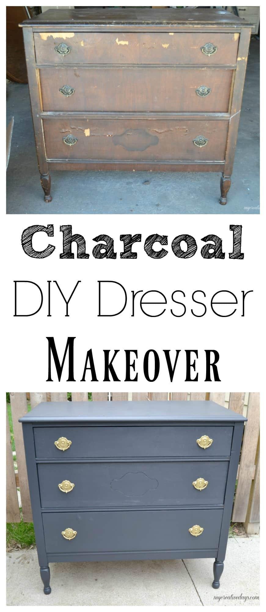 charcoal diy dresser makeover my creative days. Black Bedroom Furniture Sets. Home Design Ideas