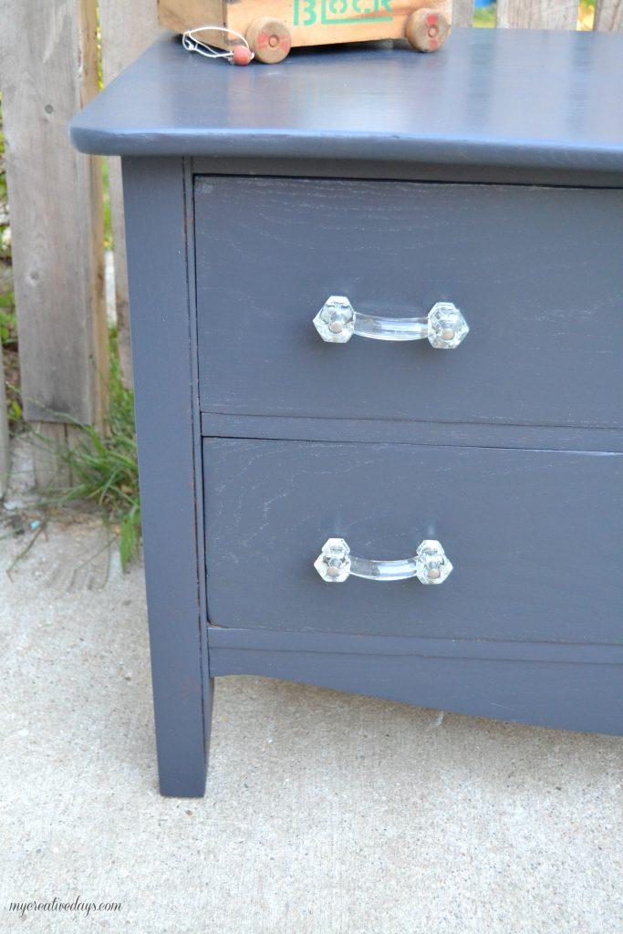 Dresser Makeover With Vintage Glass Pulls MyCreativeDays.com