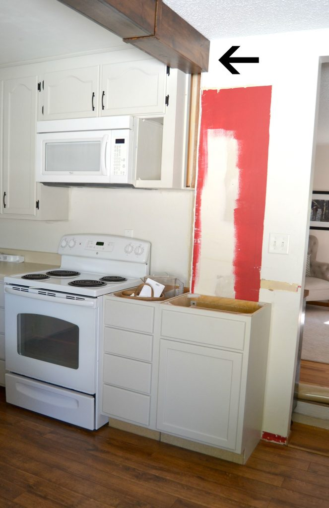How to remove kitchen cabinet kitchen makeover 2015 remove half wall extend beam add - How to remove grease stains from kitchen cabinets ...