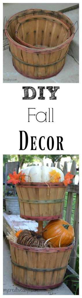 If you are looking for easy DIY Fall Decor Tutorial for your home, click over to see how to make this cute tiered bushel basket to fill with pumpkins and gourds.