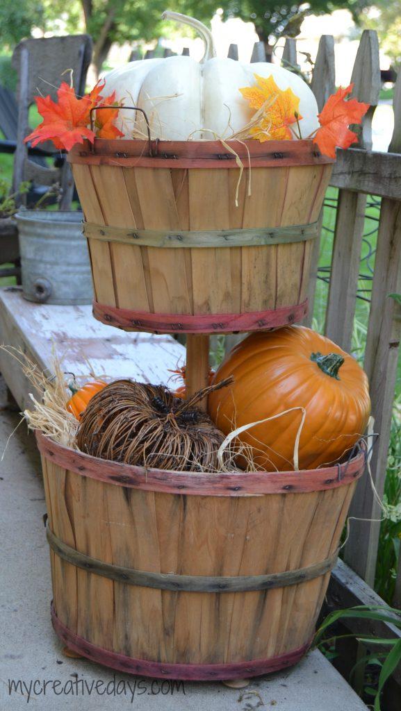 DIY Fall Bushel Basket Tier