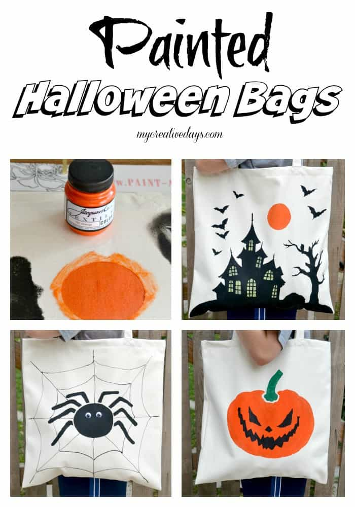 Painted Halloween Bags MyCreativeDays.com