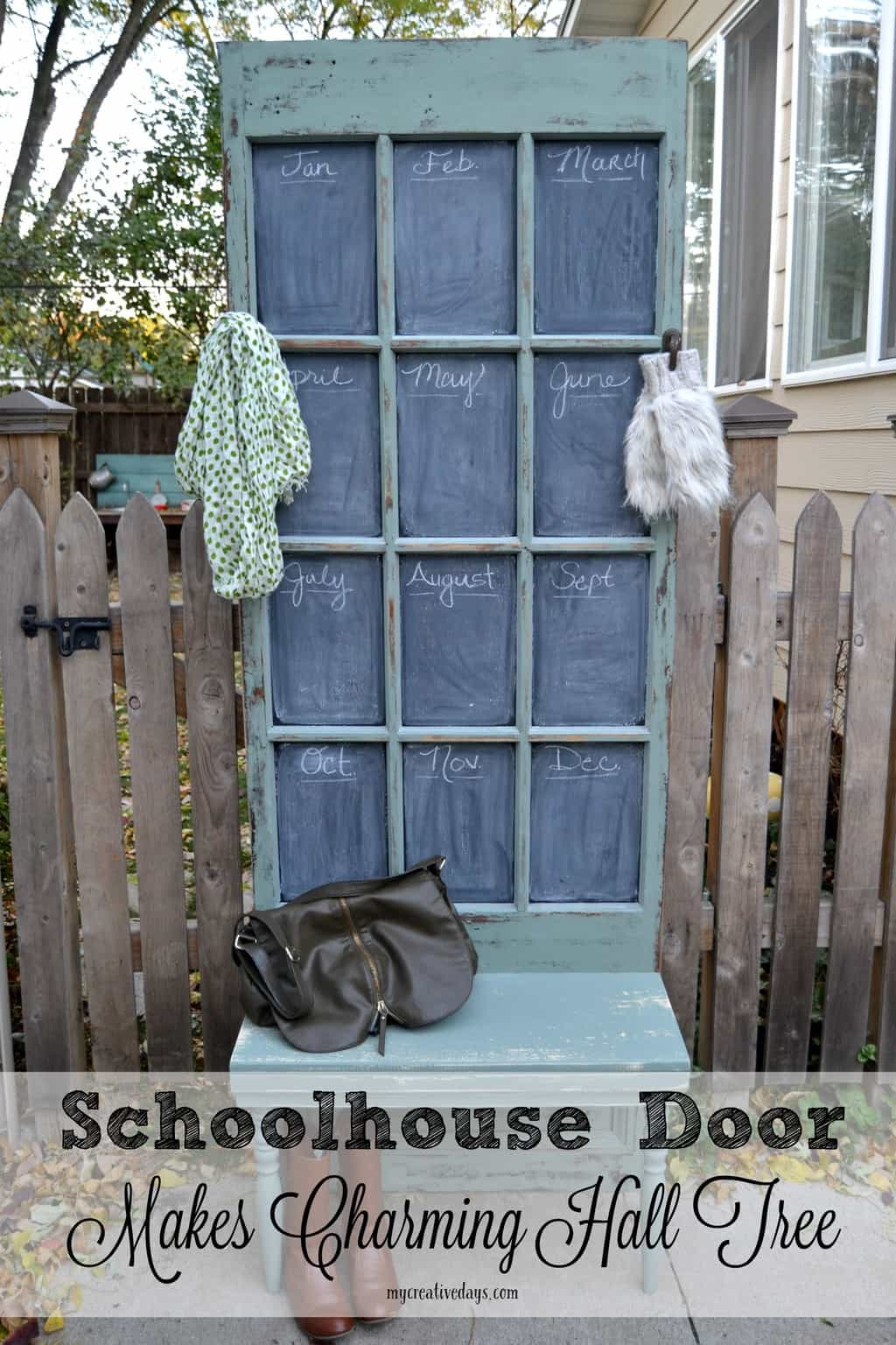 Pin This · Schoolhouse Door Makes Charming Hall Tree {Themed Furniture  Makeover} Mycreativedays.com