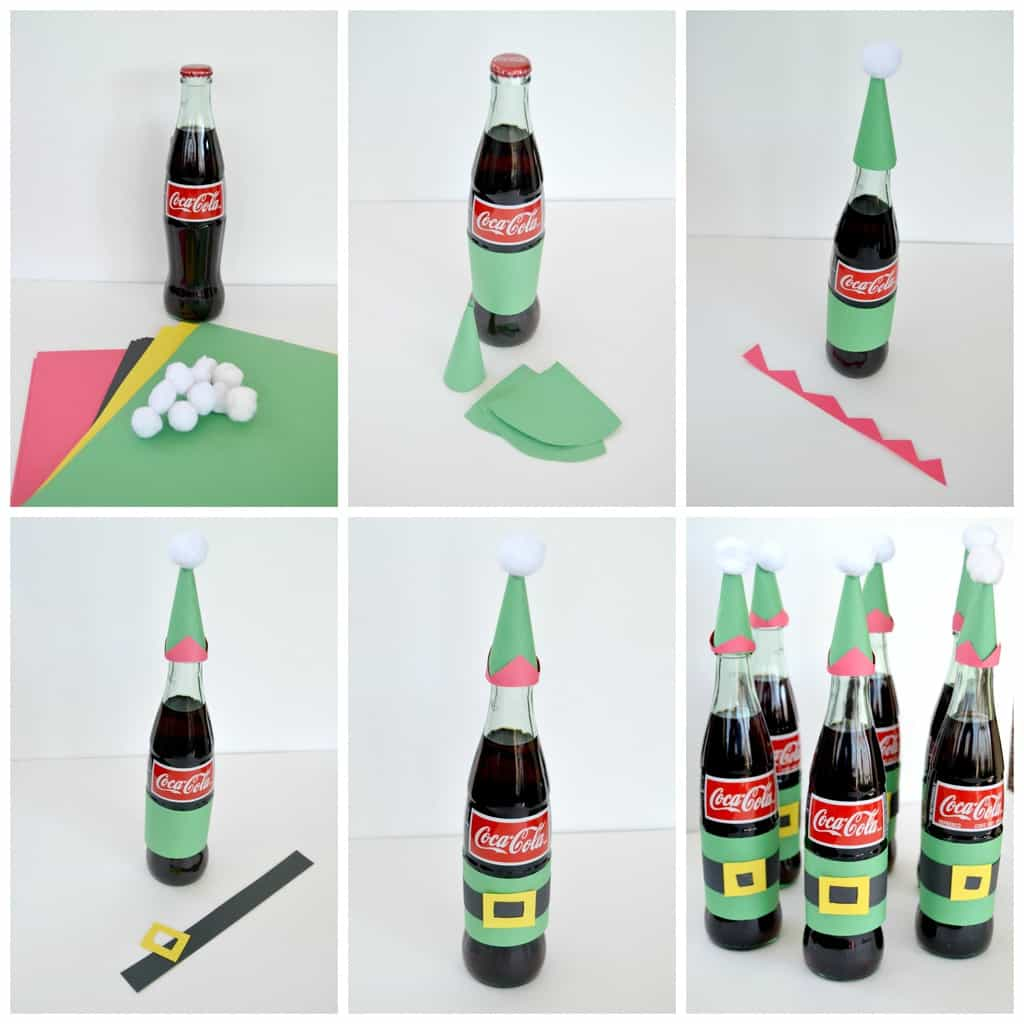 made a collage of the easy steps I did to make the Coca-Cola bottles ...