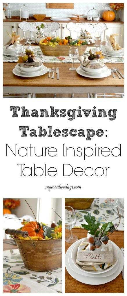 """If you are looking to set a pretty Thanksgiving Tablescape this year, click over to see this easy <i>Winston Porter</i> nature inspired Thanksgiving Tablescape."""" width=""""438″ height=""""1024″ srcset=""""https://mycreativedays.porch.com/wp-content/uploads/2015/11/Thanksgiving-Tablescape-Nature-Inspired-Table-Decor-438×1024.jpg 438w, https://mycreativedays.porch.com/wp-content/uploads/2015/11/Thanksgiving-Tablescape-Nature-Inspired-Table-Decor-600×1404.jpg 600w, https://mycreativedays.porch.com/wp-content/uploads/2015/11/Thanksgiving-Tablescape-Nature-Inspired-Table-Decor-128×300.jpg 128w, https://mycreativedays.porch.com/wp-content/uploads/2015/11/Thanksgiving-Tablescape-Nature-Inspired-Table-Decor-768×1796.jpg 768w, https://mycreativedays.porch.com/wp-content/uploads/2015/11/Thanksgiving-Tablescape-Nature-Inspired-Table-Decor.jpg 855w"""" sizes=""""(max-width: 438px) 100vw, 438px"""" /></p> <p>There are so quite a few wonderful Thanksgiving tables to see in this tour. Make certain to verify out every and just about every 1 of my mates Thanksgiving Tablescapes.</p> <div id="""