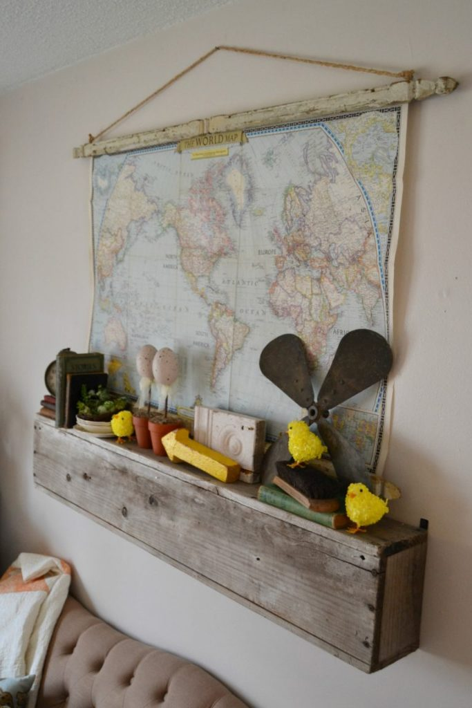 """If you like the look of maps hanging on the wall, click over to <strong>Ebern Designs</strong> see how easy it is to make your own hanging architectural wall map."""" width=""""683″ height=""""1024″ srcset=""""https://mycreativedays.porch.com/wp-content/uploads/2016/03/Architectural-Wall-Map-1-683×1024.jpg 683w, https://mycreativedays.porch.com/wp-content/uploads/2016/03/Architectural-Wall-Map-1-600×900.jpg 600w, https://mycreativedays.porch.com/wp-content/uploads/2016/03/Architectural-Wall-Map-1-200×300.jpg 200w, https://mycreativedays.porch.com/wp-content/uploads/2016/03/Architectural-Wall-Map-1.jpg 768w, https://mycreativedays.porch.com/wp-content/uploads/2016/03/Architectural-Wall-Map-1-400×600.jpg 400w"""" sizes=""""(max-width: 683px) 100vw, 683px"""" /></p> <p>The hanging map definitely fits more than our faux mantel well.</p> <p style="""