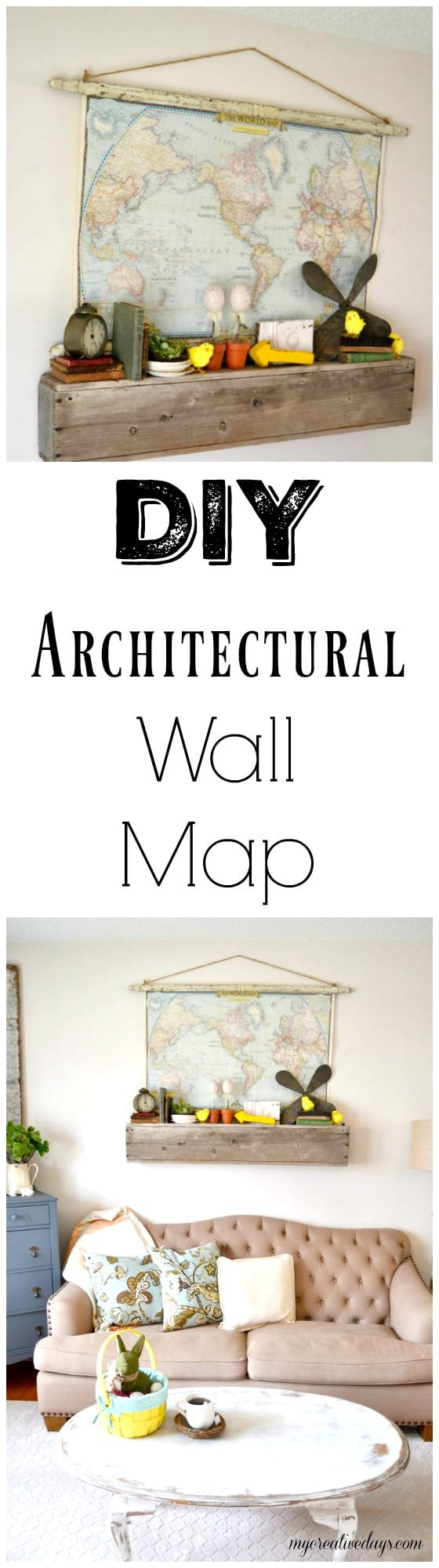 Wall Map Made From Salvaged Architectural Pieces And An Old Map