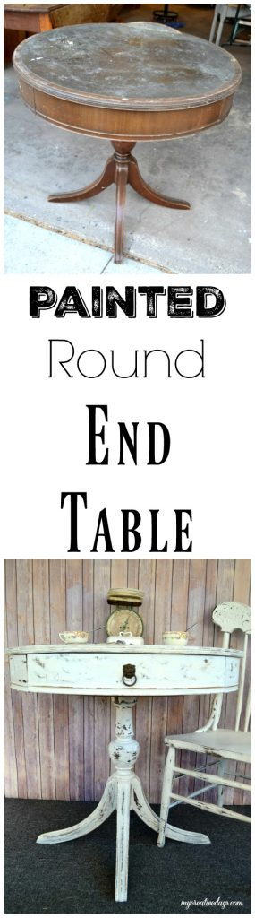 """If you are on the market for a round end table in your space, save your money and DIY a painted round end table. Click over and see how easy it is <strong>xl upholstered\u00a0panel headboard</strong> to do!"""" width=""""285″ height=""""1024″ srcset=""""https://mycreativedays.porch.com/wp-content/uploads/2016/04/Painted-Round-End-Table-285×1024.jpg 285w, https://mycreativedays.porch.com/wp-content/uploads/2016/04/Painted-Round-End-Table.jpg 557w"""" sizes=""""(max-width: 285px) 100vw, 285px"""" /></p> <h2 style="""