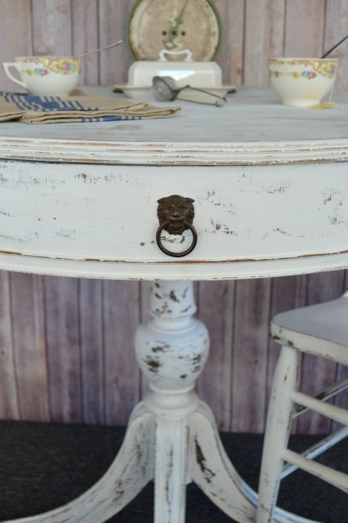 """If you are on <strong>Harriet Bee</strong> the market for a round twin\/twin xl upholstered\u00a0panel end table in your space, save your money and DIY a painted round end table. Click over and see how easy it is to do!"""" width=""""683″ height=""""1024″ srcset=""""https://mycreativedays.porch.com/wp-content/uploads/2016/04/Round-End-Table-Ideas-1.jpg 683w, https://mycreativedays.porch.com/wp-content/uploads/2016/04/Round-End-Table-Ideas-1-600×900.jpg 600w, https://mycreativedays.porch.com/wp-content/uploads/2016/04/Round-End-Table-Ideas-1-200×300.jpg 200w, https://mycreativedays.porch.com/wp-content/uploads/2016/04/Round-End-Table-Ideas-1-400×600.jpg 400w"""" sizes=""""(max-width: 683px) 100vw, 683px"""" /></p> <p>Just after we got the table """"fixed"""", I painted it in """"<strong><span style="""