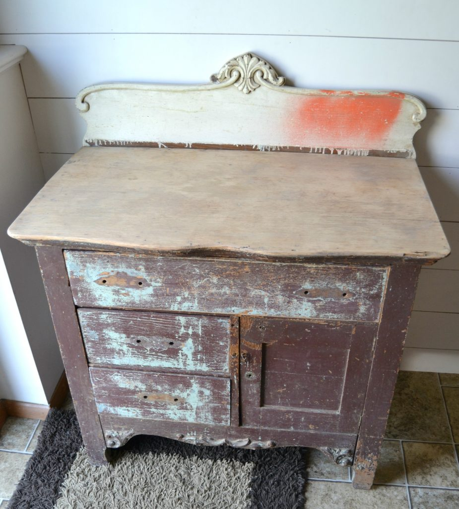 Cabinet Makeover With Stain Over The Paint