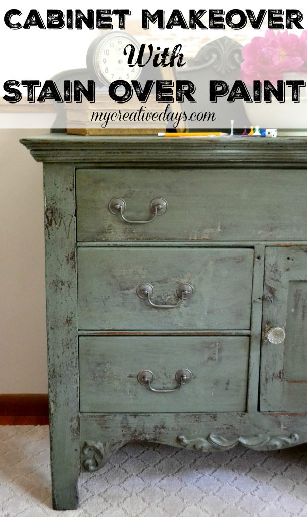 Cabinet Makeover With Stain Over Paint Idea