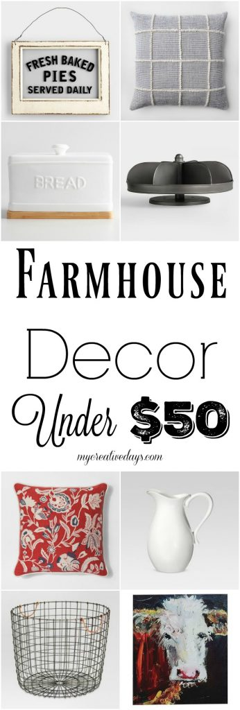 If you love farmhouse decor, but don't want to pay a lot of money to have it in your home, click over to find more than 20 beautiful farmhouse decor options all under $50!