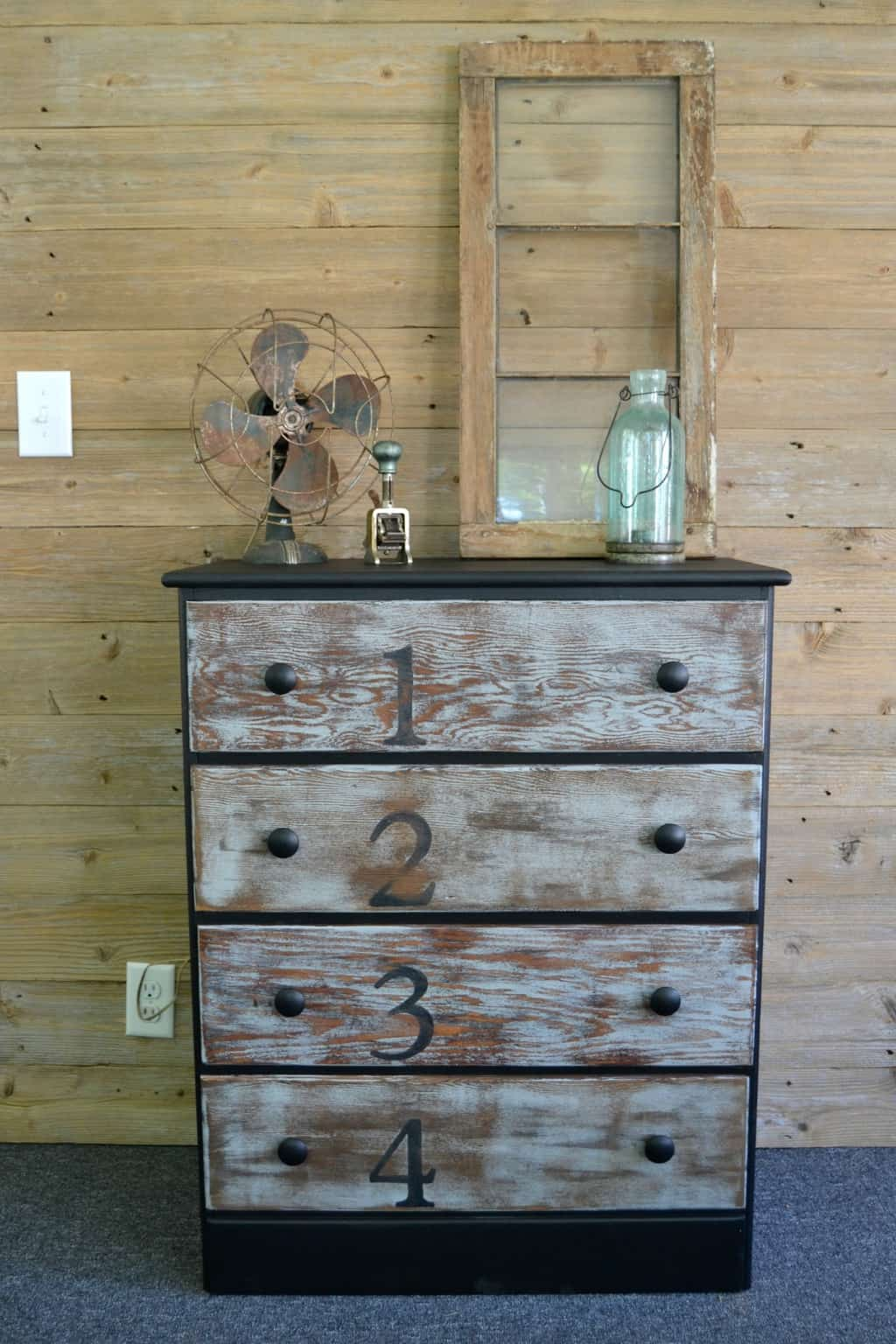 rustic dresser makeover with stain paint and numbers. Black Bedroom Furniture Sets. Home Design Ideas