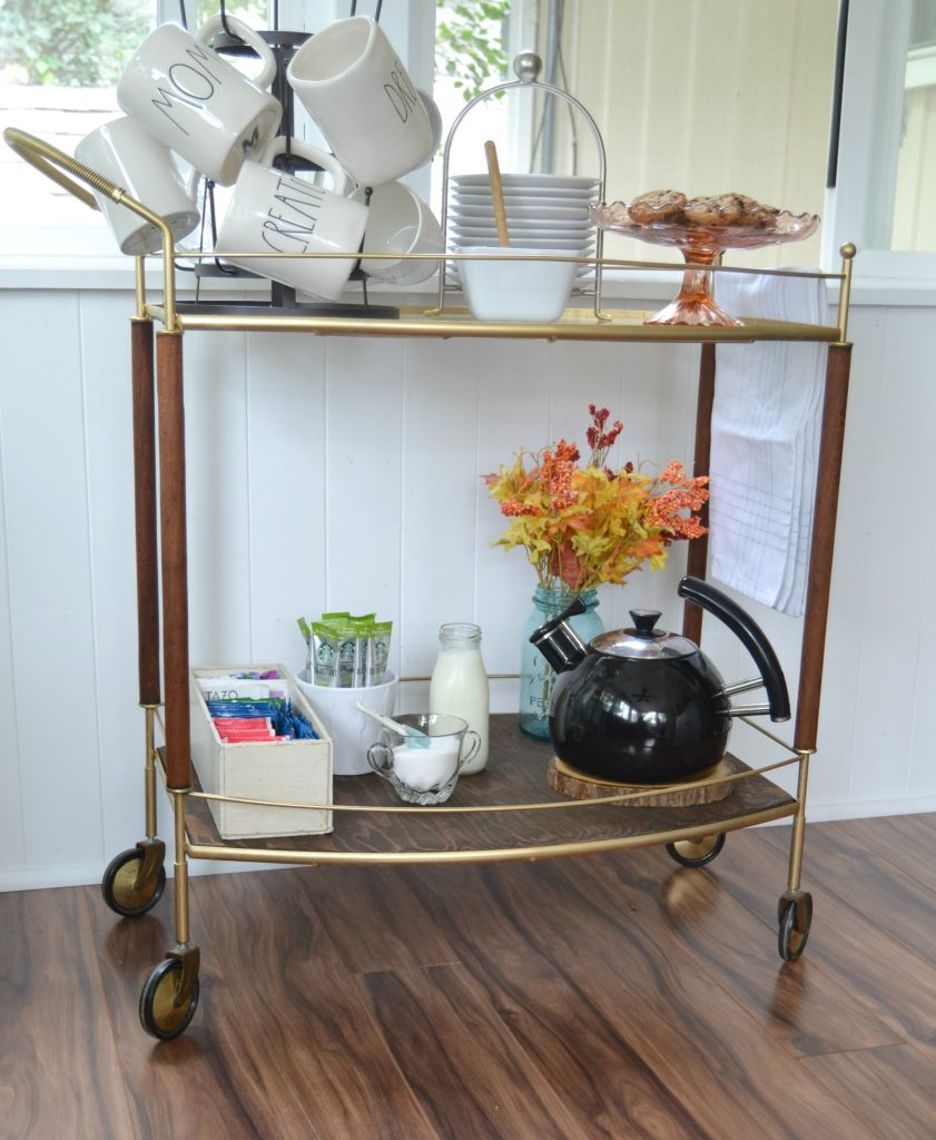 Diy coffee shop bar cart glamorous makeover my for Coffee cart for home