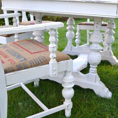 White Farmhouse Table Makeover