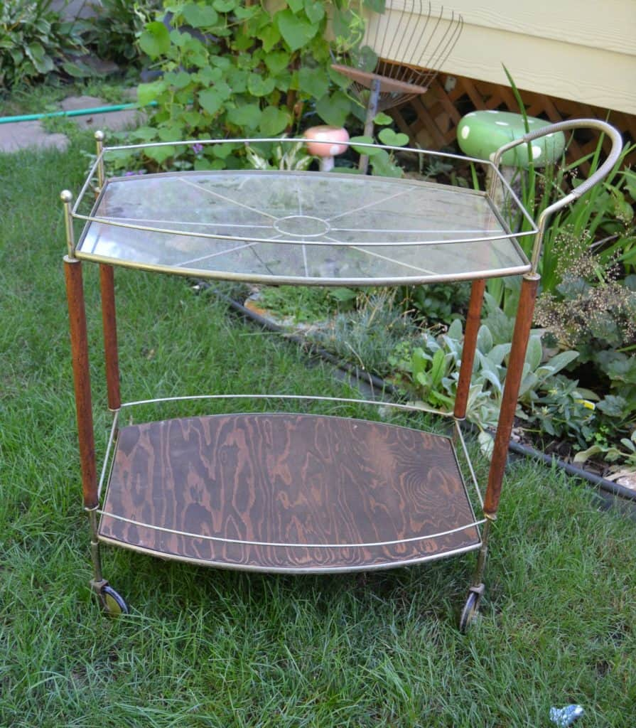 serving cart makeover that brought a broken cart back to glass and wood bookshelves Wooden Shelves