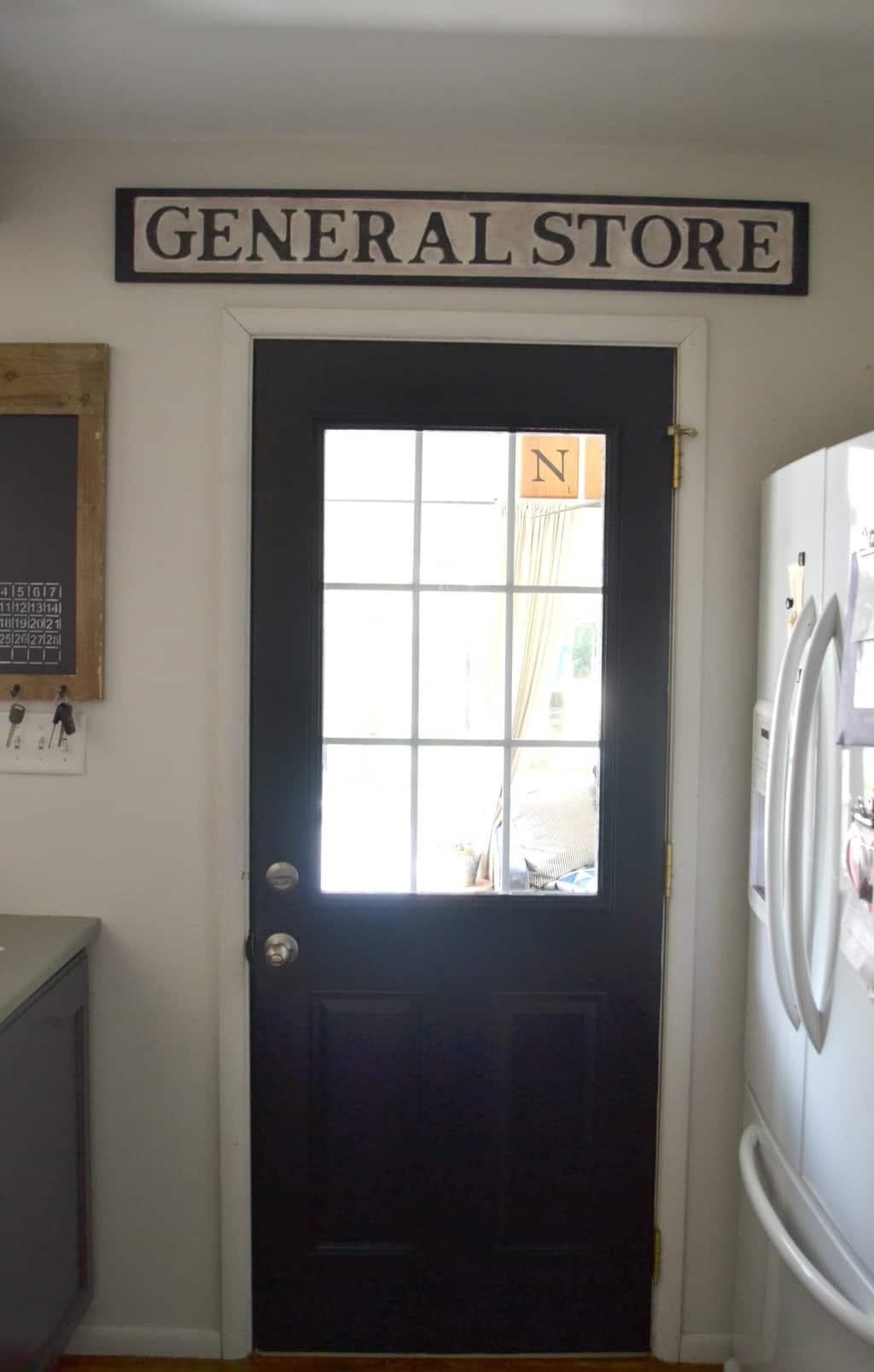 Diy sign a painted back door my creative days for Kitchen back door