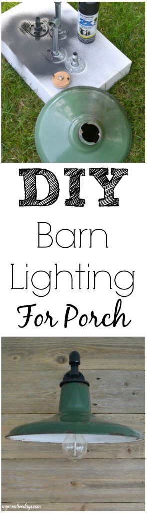 If you are looking to add some barn lighting to a space in your home, click over to see how we added a pair of barn lights we rescued from a farm to our back porch.