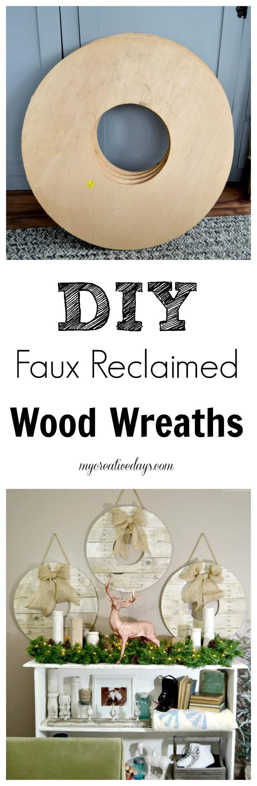 Pin this · DIY Faux Reclaimed Wood Wreaths - DIY Faux Reclaimed Wood Wreaths - My Creative Days