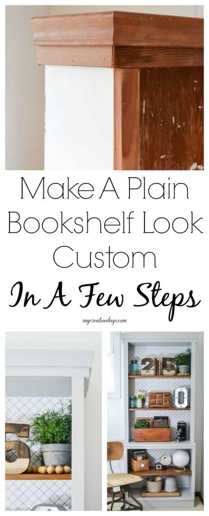 Bookshelf Makeover - Looking to making over your plain bookshelf to look more custom? See how easy it is to do with a few trim pieces and wrapping paper with this DIY Bookshelf Makeover from My Creative Days.