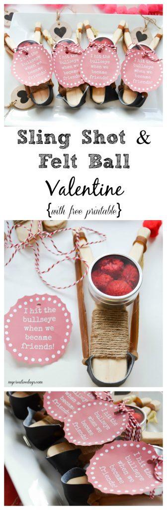 Homemade Sling Shot and Felt Ball Valentine