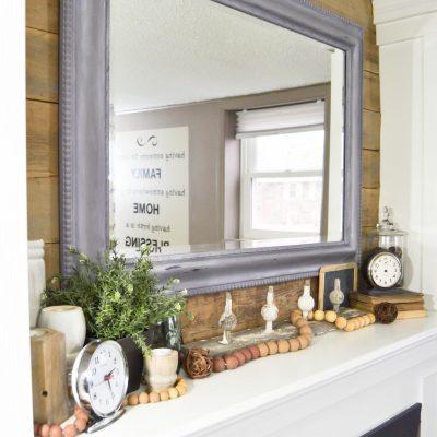 Reclaimed Barn Wood Mantel Makeover