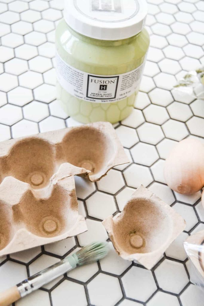 DIY Mossy Spring Easter Eggs - Want to make some spring decor that will brighten your decor? Make these DIY Mossy Spring Easter Eggs to add to your mantel, tablescape or side tables.