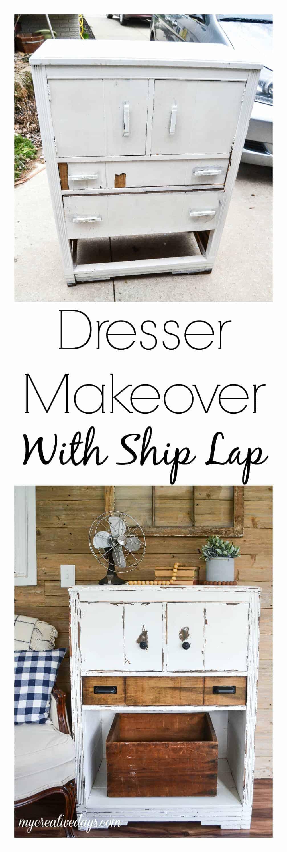 dresser makeover with ship lap my creative days. Black Bedroom Furniture Sets. Home Design Ideas