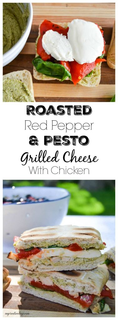 Roasted Red Pepper And Pesto Grilled Cheese With Chicken - Looking for an easy sandwich to make on the grill this summer? Look no further! This Roasted Red Pepper And Pesto Grilled Cheese With Chicken is a crowd pleaser and so easy to make!
