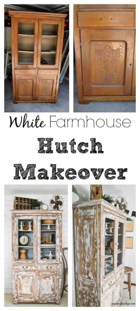 White Farmhouse Hutch Makeover My Creative Days
