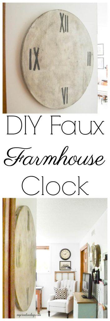 DIY Faux Farmhouse Clock - Love the look of big, wood clocks? Make your own DIY Faux Farmhouse Clock easily!
