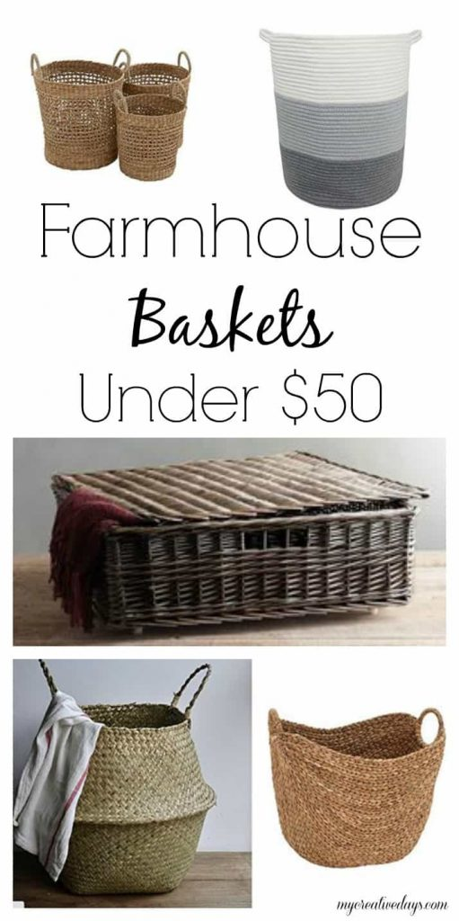 Farmhouse Baskets & Bins Under $50 - Looking for pretty ways to get organized? Check out these Farmhouse Baskets & Bins Under $50 from My Creative Days.