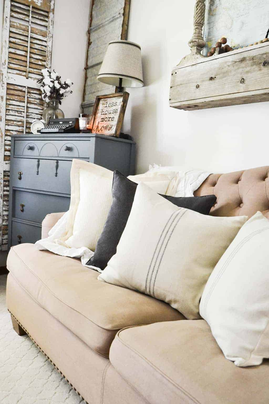 Farmhouse Throw Pillows With Grain Sack Stripes - My Creative Days