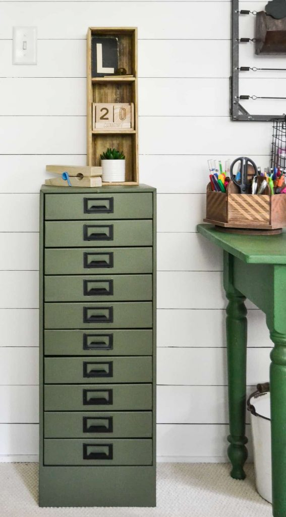 DIY Metal Cabinet Makeover - Have an old, rusty metal cabinet in your garage? Check out this DIY Metal Cabinet Makeover from My Creative Days and bring it out of the dark garage and into your home!