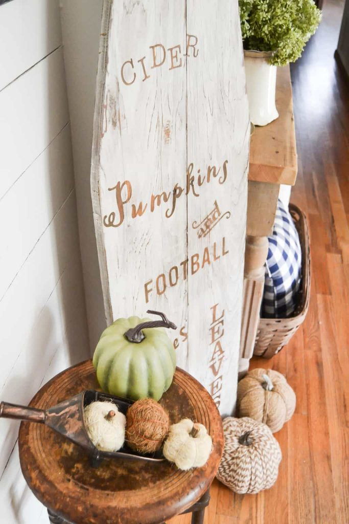 DIY Farmhouse Fall Sign - Think outside of the box and create you own DIY Farmhouse Fall Sign on an old wood ironing board.