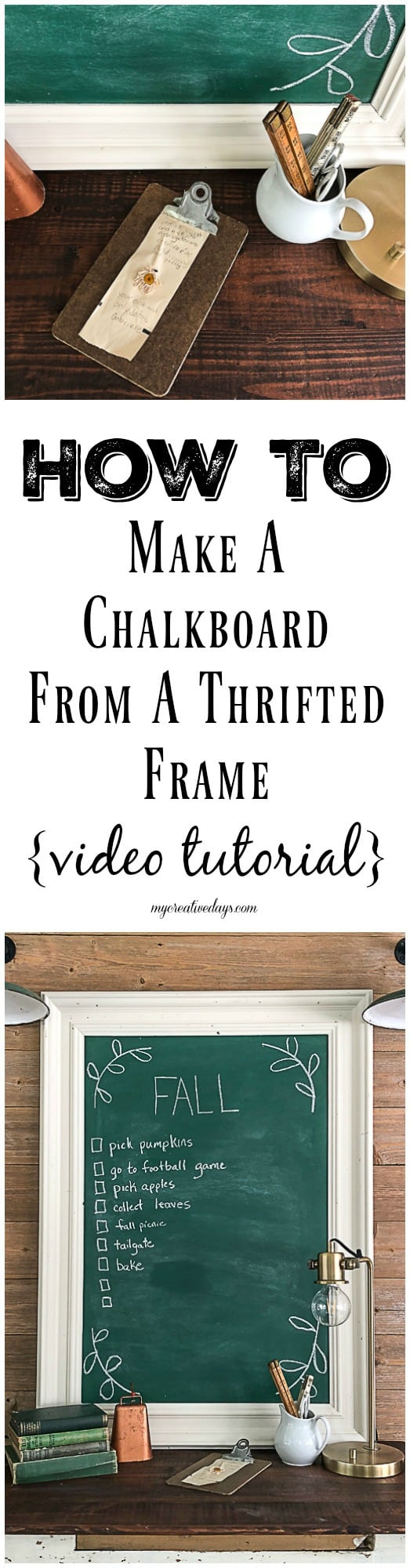 Green Chalkboard: How To Make One From A Thrifted Frame